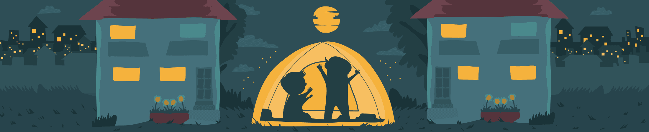Cartoon Illustration of two kids inside a tent camping at their house backyard